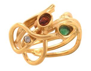 Ring in Silber 925/- goldplattiert mit einem Granat, einem Grünachat  und einem Zirkonia.