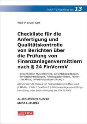 Checkliste 13 für die Anfertigung und Qualitätskontrolle von Berichten über die Prüfung von Finanzanlagenvermittlern nach Paragraph 24 FinVermV