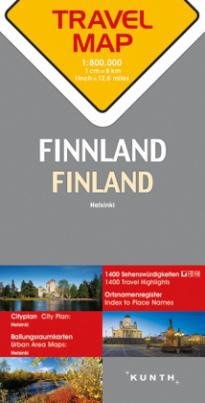 Travelmap Reisekarte Finnland / Finland 1:800.000