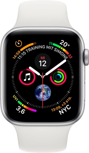 "APPLE Smart Watch ""Watch Series 4"" (GPS, 40 mm Aluminiumgehäuse, Silber/Weiß)"