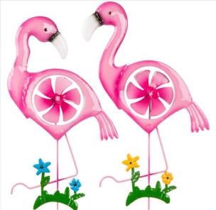 Flamingo Gartenstecker mit Windrad 2tlg.