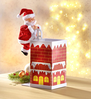 Weihnachtsmann schlüpft durch den Kamin