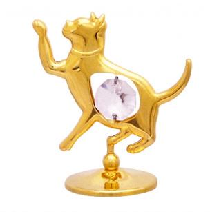 Goldfigur Katze mit Swarovski Kristallen