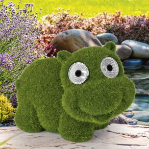 Solar-Figur Hippo in Moos-Optik