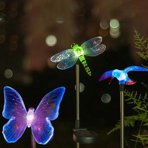 Solarleuchte Kolibri, Schmetterling, Libelle 3-er Set